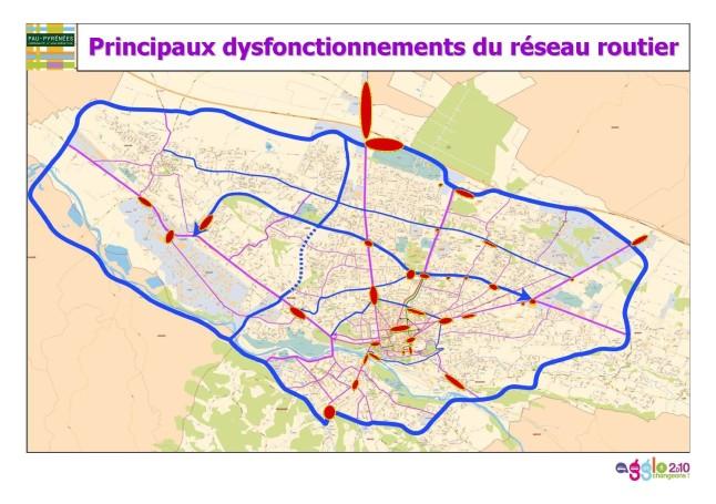 Principales zones d'embouteillages sur l'agglomération de Pau