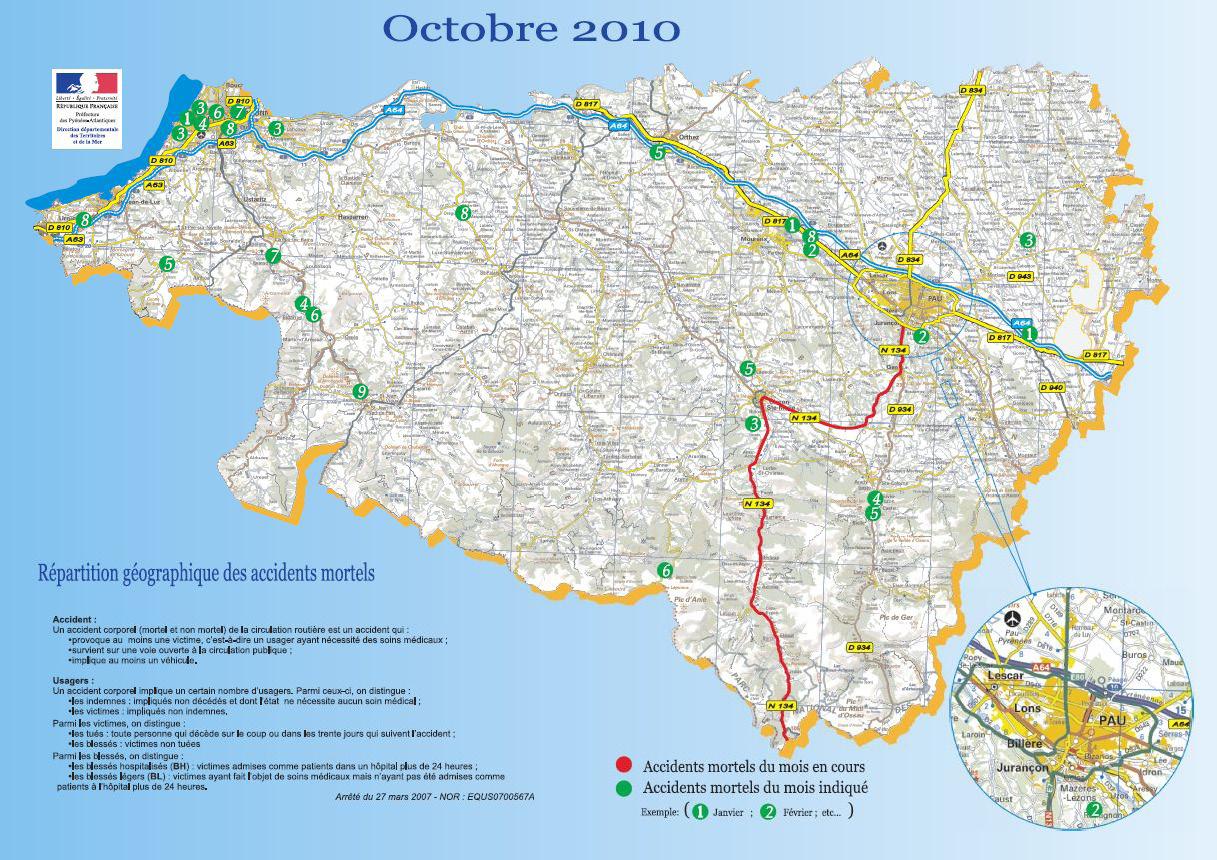L'Accidentologie dans les Pyrénées-Atlantiques – Octobre 2010