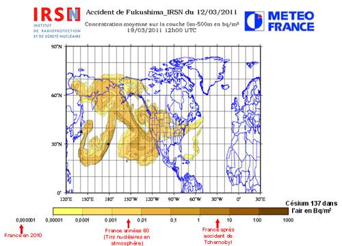 Situation du Nuage Radioactif au 19/03/2011