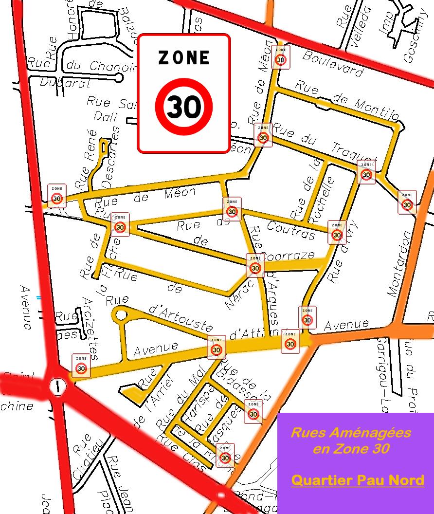 Aménagements en Zone 30 sur Pau-Nord