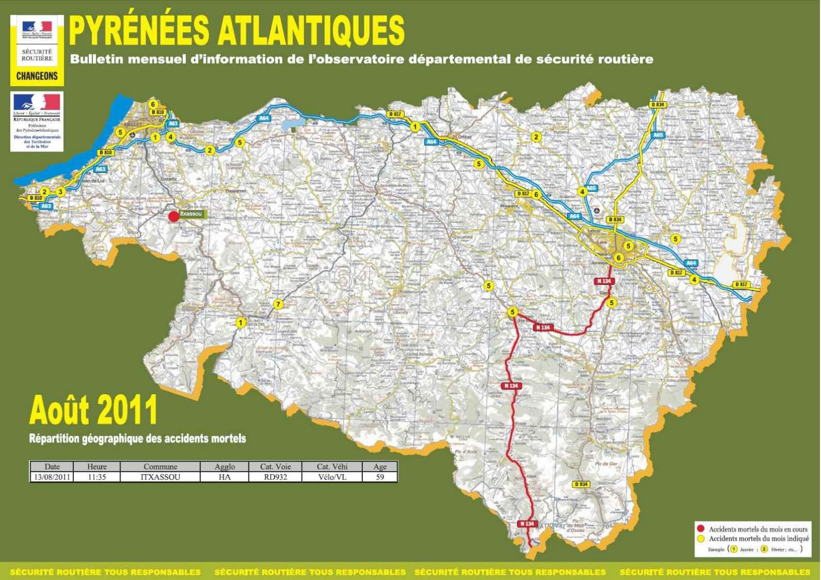 L'Accidentologie au mois d'août 2011 sur les Pyrénées-Atlantiques