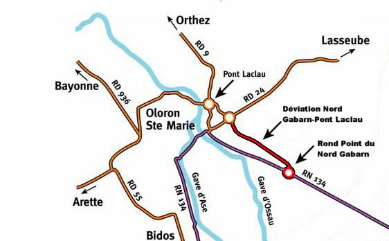 Création du rond point sur l'entrée d'Oloron Ste Marie