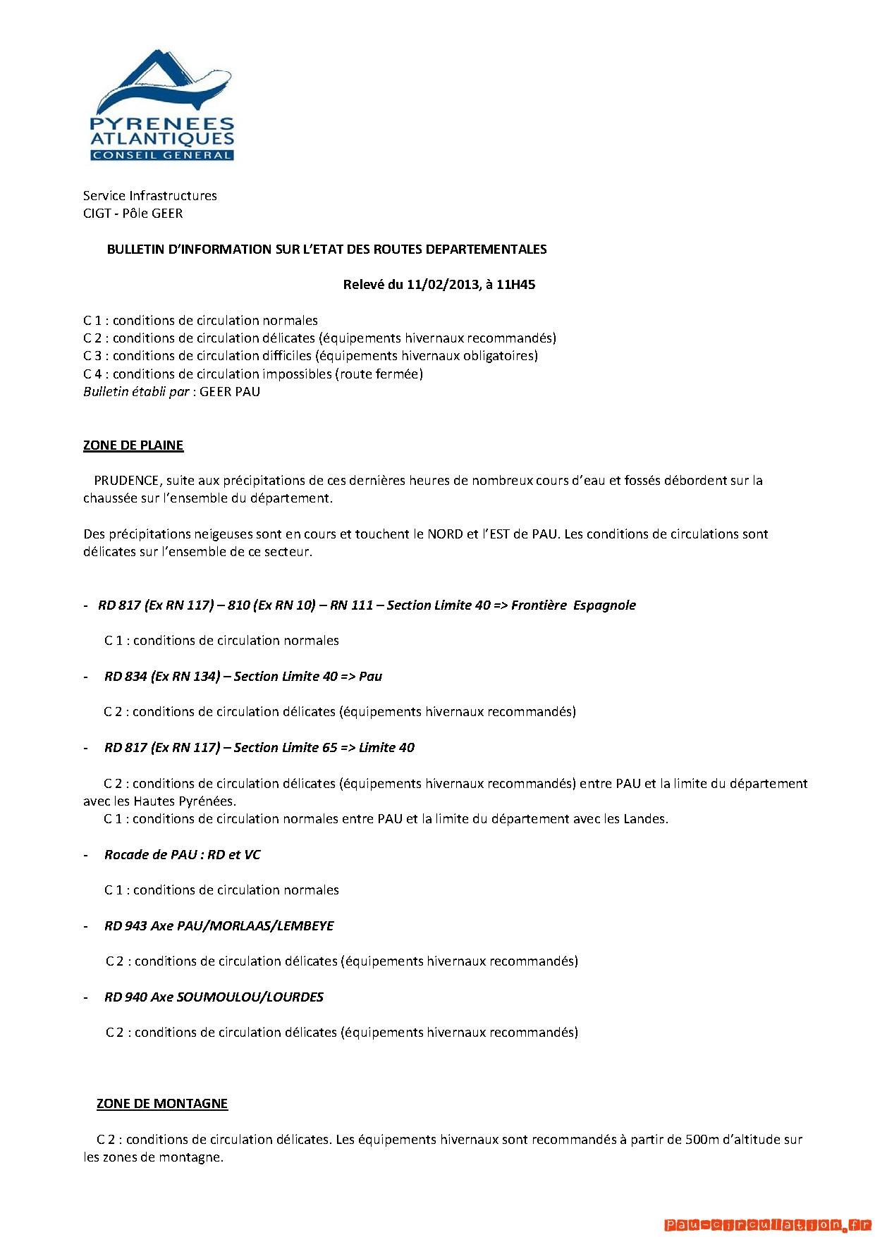BULLETIN D'INFORMATION SUR L'ETAT DES ROUTES DEPARTEMENTALES 64