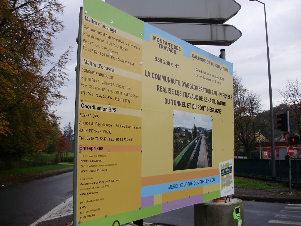 Panneau d'information des travaux de 2009