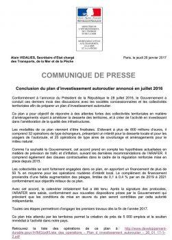 Conclusion du plan d'investissement autoroutier annoncé en juillet 2016