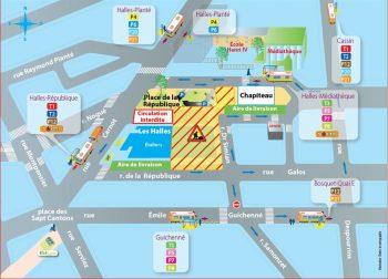 Plan de circulation autour des Halles durant les travaux @Ville de Pau cliquez sur l'image pour zoomer...