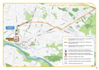 Carte de l'arrivée du tour de France Cycliste sur Pau