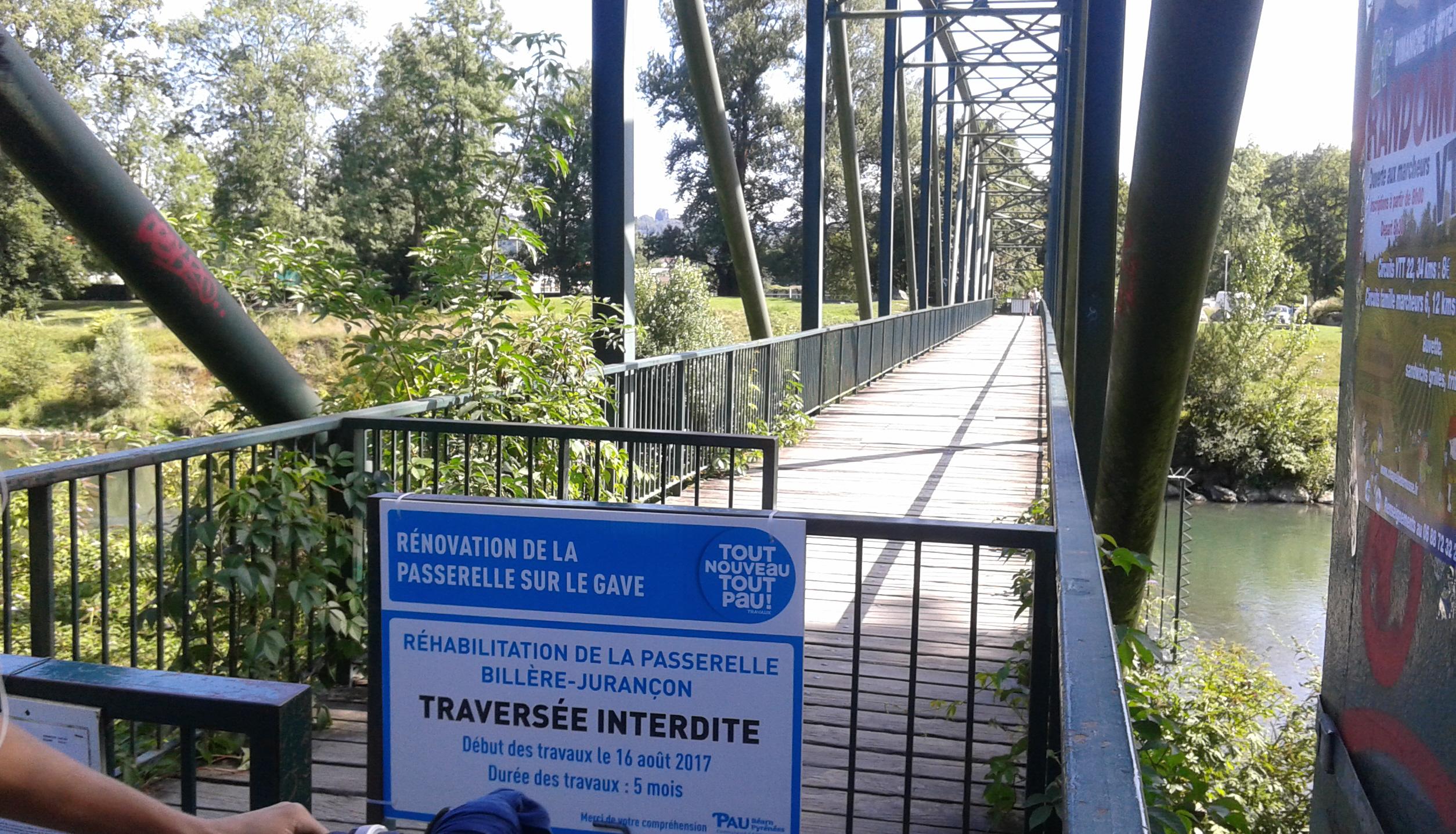 Billère-Jurançon : la passerelle fermée