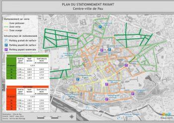 Plan du stationnement autorisé payant sur la voie publique - Pau