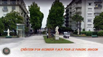 Photo-montage de la localisation du nouveau dispositif pour le parking souterrain Aragon ascenseur P.M.R
